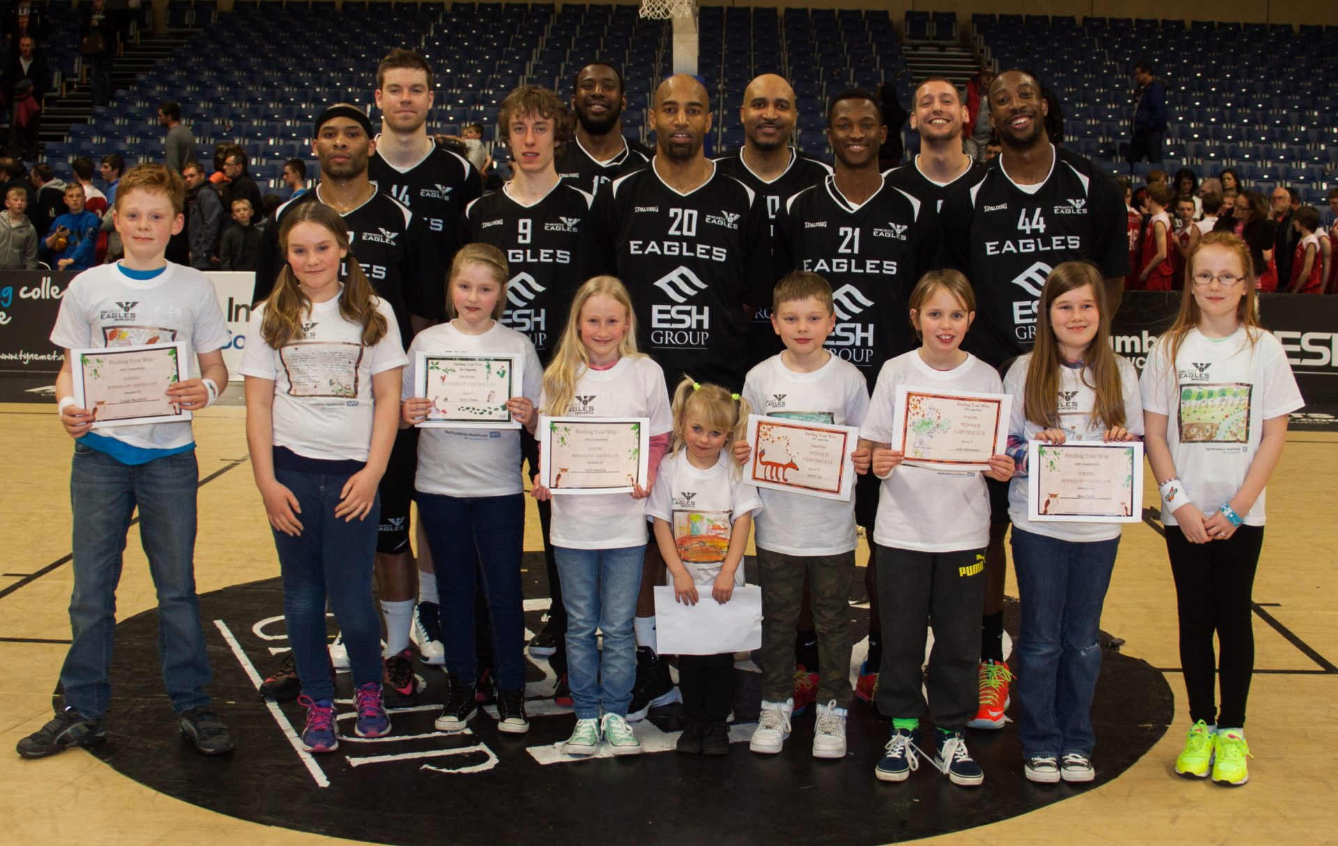 School art competition winners with the Newcastle Eagles