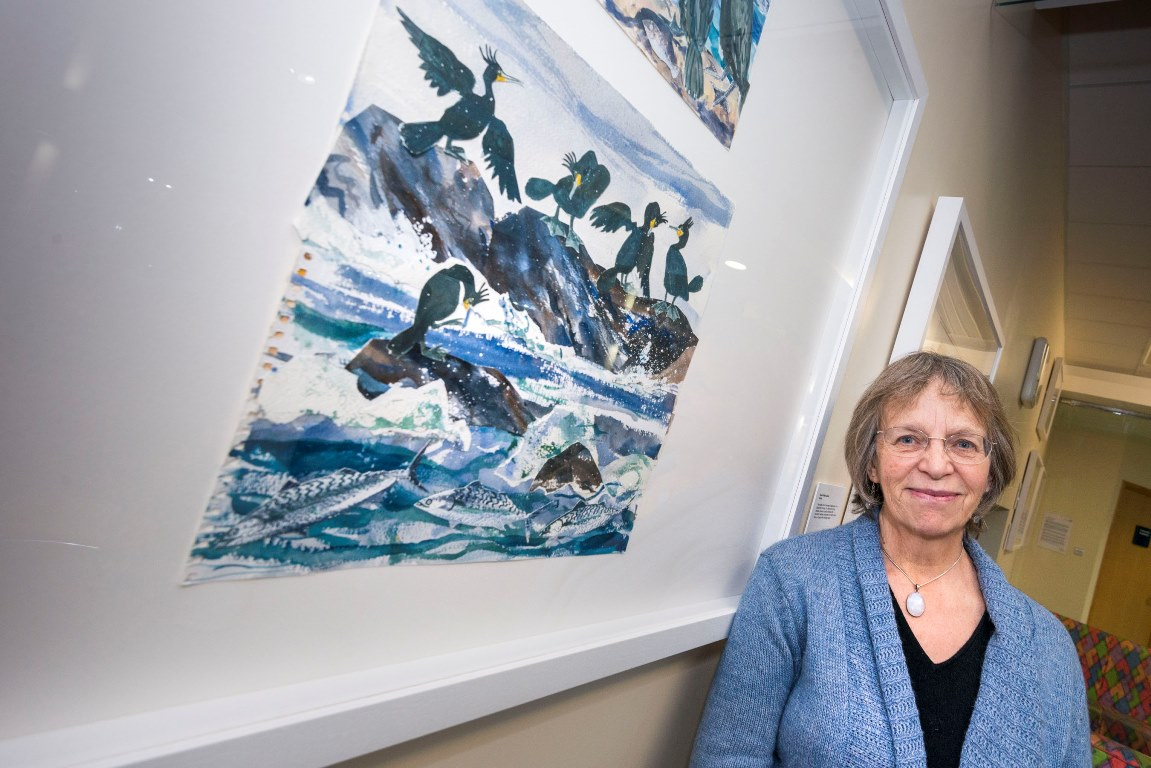 Artist Rosie Villiers-Stuart with new Farne Islands exhibition at Hexham General Hospital