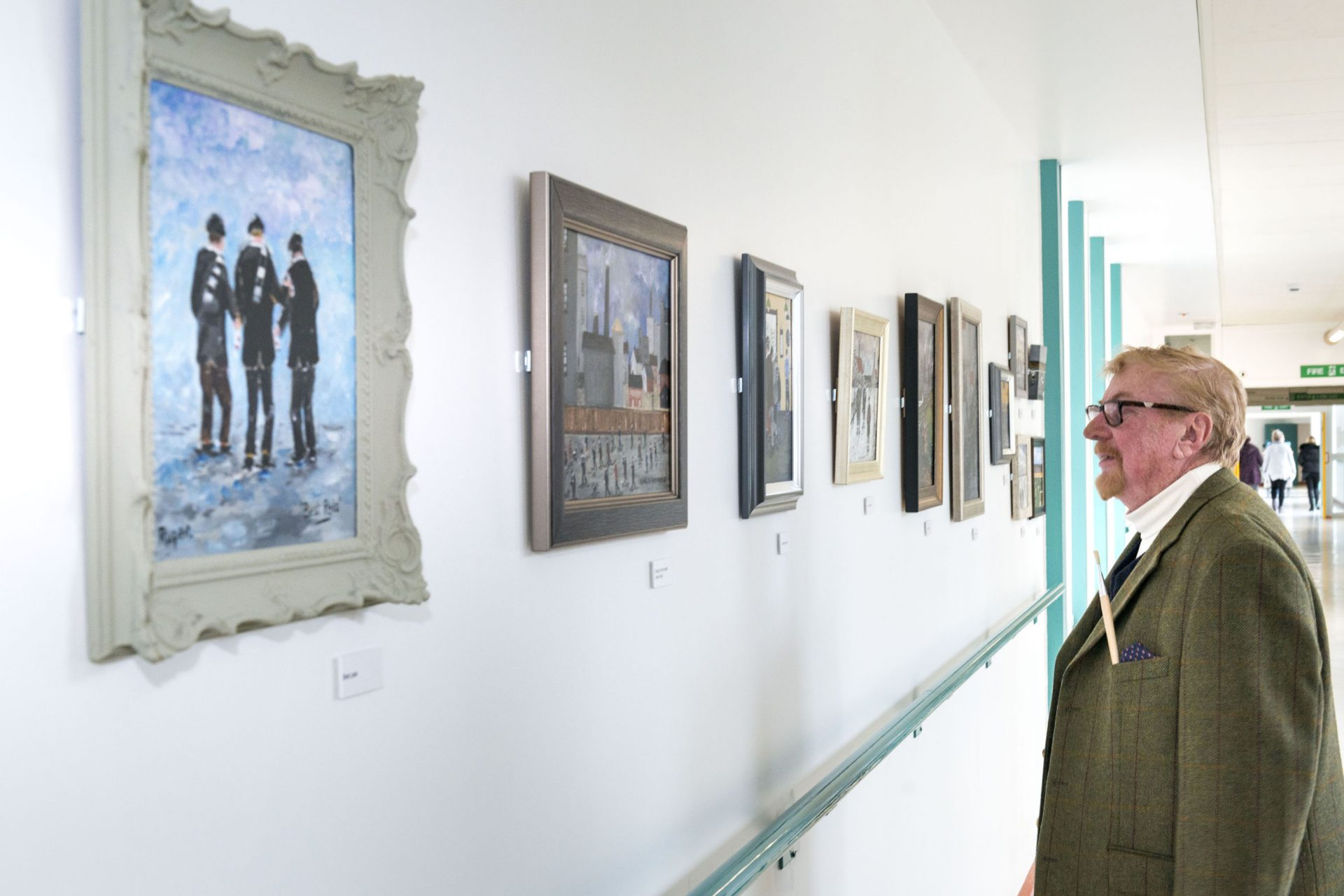 Artist Stanley Thompson showing Ashington's mining heritage on display at Wansbeck hospital