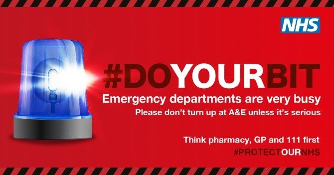 Plea from region's NHS to keep A&E and 999 free for emergencies